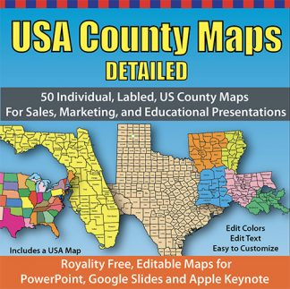 USA 50 State County Maps Detailed Collection