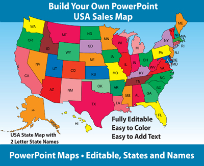 1 USA PowerPoint Map with 50 Editable States and 2 Letter State