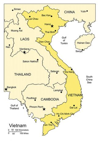 Vietnam PowerPoint Map, Major Cities and Capital