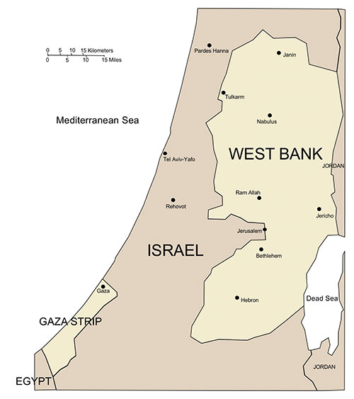 West Bank and Gaza, PowerPoint Map, Major Cities and Capital