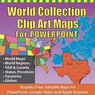 World Collection Clip Art Map for PowerPoint pptx
