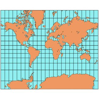 World Mercator Projection PowerPoint Map, Europe Centered, Continents-2