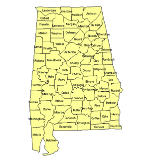 Alabama Editable US Detailed County and Highway PowerPoint Map