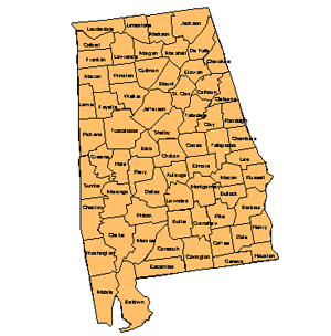 Alabama Editable County PowerPoint Map for Building Regions
