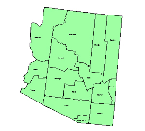 Arizona Editable County PowerPoint Map for Building Regions