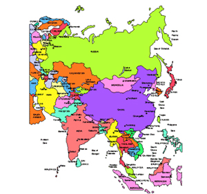 Russia and Asia Regional PowerPoint Map, Countries, Names