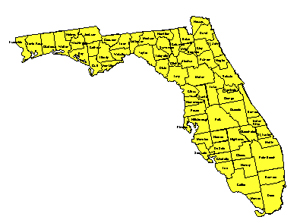 Florida, Editable County PowerPoint Map for Building Regions