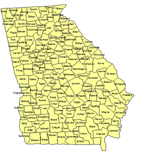 Georgia Editable US Detailed County and Highway PowerPoint Map