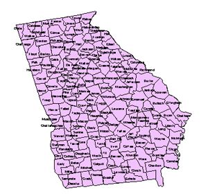 Georgia, Editable County PowerPoint Map for Building Regions