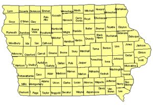 Iowa Editable US Detailed County and Highway PowerPoint Map