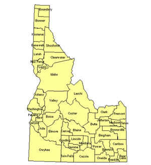 Idaho Editable US Detailed County and Highway PowerPoint Map