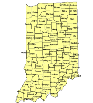 Indiana Editable US Detailed County and Highway PowerPoint Map