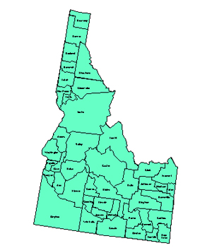 Idaho, Editable County PowerPoint Map for Building Regions
