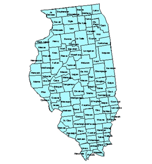 Illinois, Editable County PowerPoint Map for Building Regions