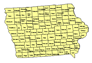 Iowa, Editable County PowerPoint Map for Building Regions