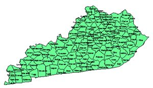 Kentucky Editable County PowerPoint Map for Building Regions