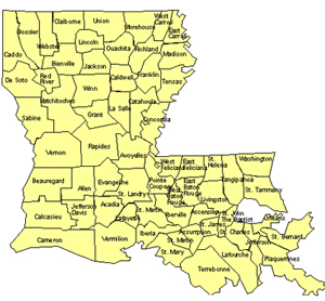 Louisiana Editable US Detailed County and Highway PowerPoint Map