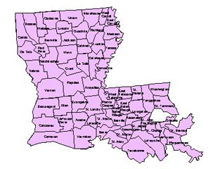Louisiana Editable County PowerPoint Map for Building Regions