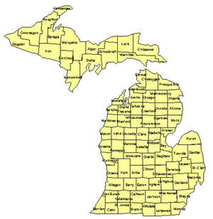 Michigan Editable US Detailed County and Highway PowerPoint Map