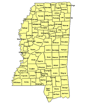 Mississippi Editable US Detailed County and Highway PowerPoint Map