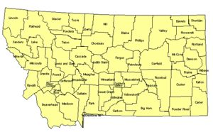 Montana Editable US Detailed County and Highway PowerPoint Map