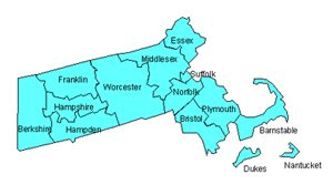 Massachusetts Editable County PowerPoint Map for Building Regions