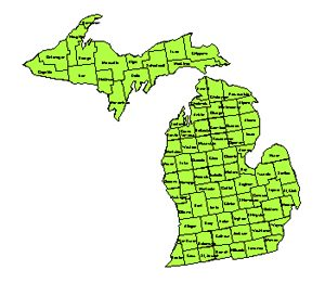 Michigan, Editable County PowerPoint Map for Building Regions