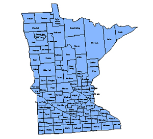 Minnesota Editable County PowerPoint Map for Building Regions