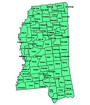 Mississippi Editable County PowerPoint Map for Building Regions