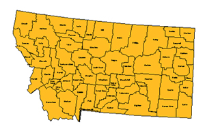 Montana, Editable County PowerPoint Map for Building Regions