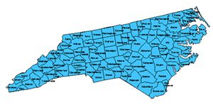 North Carolina Editable County PowerPoint Map for Building Regions