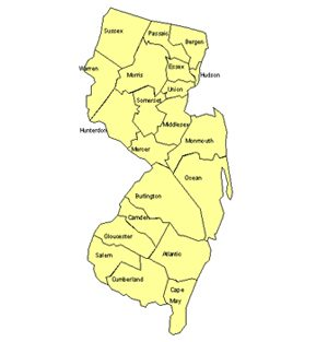 New Jersey Editable US Detailed County and Highway PowerPoint Map