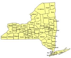 New York Editable US Detailed County and Highway PowerPoint Map