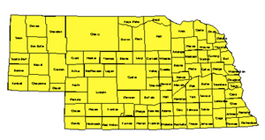 Nebraska, Editable County PowerPoint Map for Building Regions