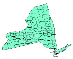 New York Editable County PowerPoint Map for Building Regions