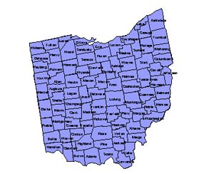 Ohio Editable County PowerPoint Map for Building Regions