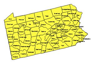 Pennsylvania Editable County PowerPoint Map for Building Regions