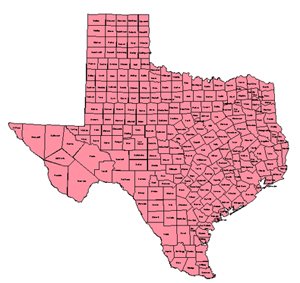 Texas, Editable County PowerPoint Map for Building Regions