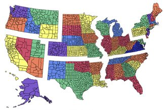 US County Regional PowerPoint Map for building regions, no names