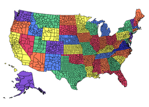 US National County, Editable County PowerPoint Map for Building Sales Regions