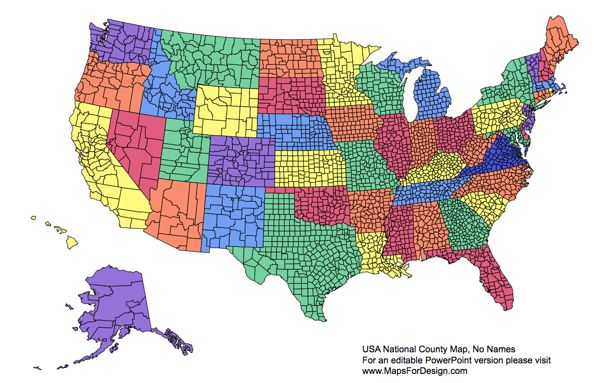 US National County Editable County PowerPoint Map For Building - Us map editable in powerpoint