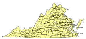 Virgina Editable US Detailed County and Highway PowerPoint Map