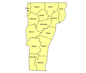 Vermont Editable US Detailed County and Highway PowerPoint Map