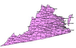 Virginia Editable County PowerPoint Map for Building Regions