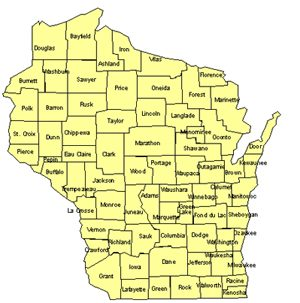 Wisconsin Editable US Detailed County and Highway PowerPoint Map