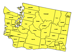 Washington Editable County PowerPoint Map for Building RegionsWashington Editable County PowerPoint Map for Building Regions