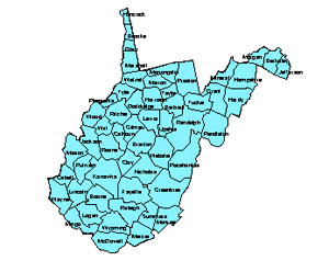 West Virgina Editable County PowerPoint Map for Building Regions