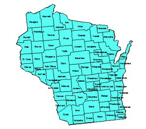 Wisconsin, Editable County PowerPoint Map for Building Regions