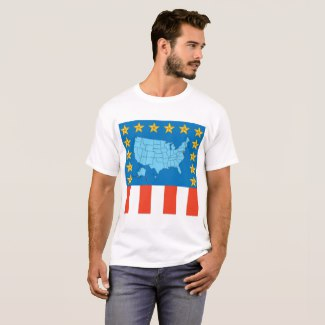 USA Map, Stars and Flag T-Shirt